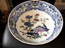 VERY LARGE ANTIQUE BOWL MASONS BLUE PANEL FLORAL RIM EXOTIC BIRDS 9799 RESTORED